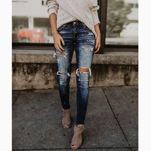 HOLLY CECELIA-Frayed Hem Distressed Skinny Jeans